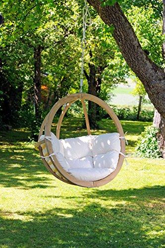 AMAZONAS Hängesessel in edlem Design Globo Chair Natura aus FSC Fichtenholz bis 120 kg in Weiß - 2