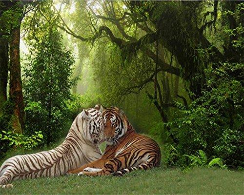 Wapel Custom Photo Wallpaper 3D Stereo Tier Wald Tiger Dschungel Wandbild Tapete Wohnzimmer Schlafzimmer 3D Wallpaper Seidenstoff 180x130CM (Wasserdicht Meeres Stereo)