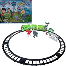 Halo Nation Paw Patrol Toy Train Track with Detective Puppies, Trees, Fuel Junction & Real Sound (Battery Operated)