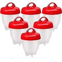 Cuoci Uova Sode  6 Pezzi Cuociuova Bolli Uova Sode Silicone Senza Guscio Ovetti Strumento per Uova Sode Egg Cooker BPA Free