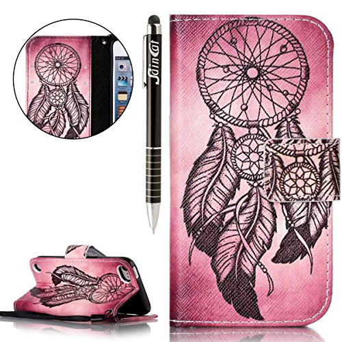 Custodia iPod Touch 5/6,SainCat Custodia in pelle Protettiva Flip Cover per iPod touch 5/6,Anti-Scratch Protettiva Caso Elegante Creativa Dipinto Pattern Design PU Leather Flip Ultra Slim Sottile Morb Rossastro Campanula marrone