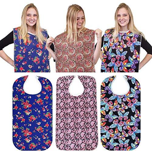 Yontree 3er-Pack Lätzchen für Erwachsene Wiederverwendbare Lätzchen Wasserdichter Kleidungsschutz für ältere Männer Frauen, die mit Druckknopfverschluss Essen