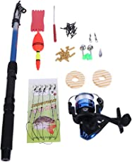 Zibuyu 53Pcs Fishing Kit Rod Reel String Hook Float Lead Weight Fishing Tackle