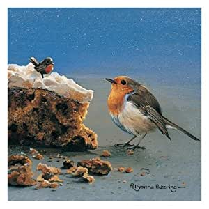 'Festive Treat' Robin and Christmas Cake Pack of 10 small square Xmas cards Pollyanna Pickering design