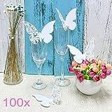 JZK® 100 x Weiß Schimmer Schmetterling ans Glas