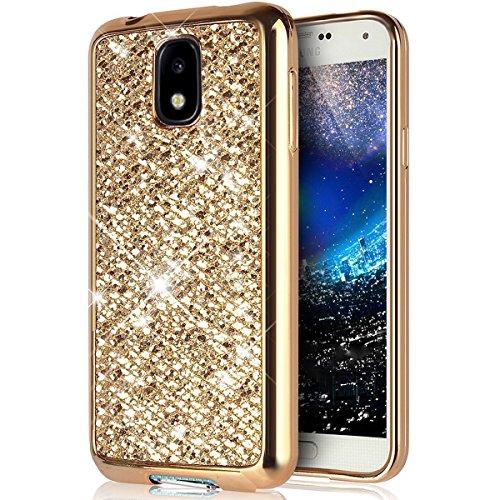 Custodia Samsung Galaxy J5 2017,Cover Samsung Galaxy J5 Pro,Custodia Cover per Samsung Galaxy J5 Pro/Galaxy J5 2017,KunyFond Glitter Cristallo Lucido Strass Diamante Glitter Trasparente Caso con Stras oro gliter