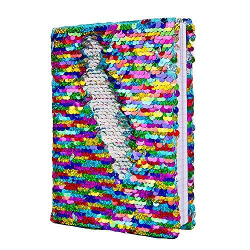 Magic Sequin Journal Reversibile Paillette Ufficio Notebook Notepad Mermaid Diario scolastico per ragazze Adulti Festival Compleanno Regali di San Valentino (Arcobaleno / Argento)