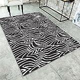 Wohnzimmer Decor Teppich Bodenfliesen Europäischen Einfachen Stil Schwarz-Weiß-Muster Rechteck Teppich Kinder Teppich Graffiti Schlafzimmer Anti-Rutsch-Teppich Teppich Teppiche ( größe : 140x200cm )