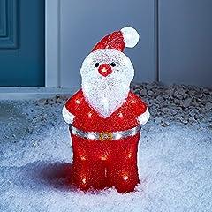 Idea Regalo - Lights4fun - Decorazione Natalizia Luminosa a Babbo Natale con LED Bianchi per Interni ed Esterni
