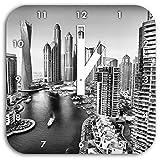 Monocrome, Dubai Metropole, Wanduhr Durchmesser 28cm mit weißen eckigen Zeigern und Ziffernblatt, Dekoartikel, Designuhr, Aluverbund sehr schön für Wohnzimmer, Kinderzimmer, Arbeitszimmer