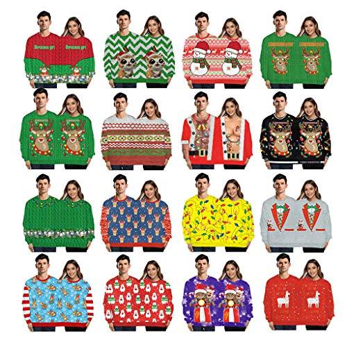 ODRD Christmas Couple Joint Hoodie Weihnachtspullover - Neuheit Unisex Paar 3D Ugly Funny Sweatshirt Sweater - Hässliche Pulli Lustig Weihnachtspulli Damen Herren Weihnachtsparty (M-Schwarz)