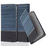 Cadorabo Hülle für Honor 6 - Hülle in DUNKEL BLAU SCHWARZ – Handyhülle mit Standfunktion und Kartenfach im Stoff Design - Case Cover Schutzhülle Etui Tasche Book