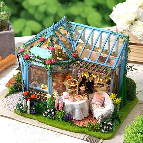 xuanyang524 DIY Cottage Rosengarten Tee Haus Kreative Handwerk Puzzle Pädagogisches Spielzeug Geschenk Set Handgemachte Architekturmodell Villa Mädchen Spielzeug There