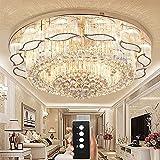 Wenrun Lighting Wohnzimmer LED 3 Helligkeit K9 Kristall und S-Golden Spiegel Edelstahl Kronleuchter Deckenlampen Hängelampe Lüster Leuchte Lampen Licht Mit LED Glühbirne und Fernbedienung