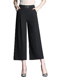 719e529274d7 Femme Printemps Eté Elégante Mode Pantalon Droit Taille Élastique Taille  Haute Style de fête Uni Manche