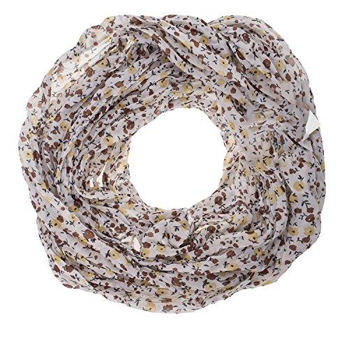 AdoniaMode Damen Loop Schlauch-Schal Hals-Tuch luftig leicht mit Seide Blümchen Muster 15-04