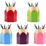 pot a crayon,Assortd Couleur Stylo Vase Pot,Lot de 5 pots à crayons créatifs en forme de tête de crayon - Pour les fourniture