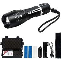 Tattico Torcia LED 2000 Lumen Super Luminoso Regolabile Focus XML T6 Torcia Portatile Campeggio Impermeabile 5 Modalità…