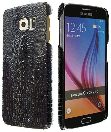3Q Samsung Galaxy S6 Hülle Luxus Krokodil Motiv Klasse Handy-Tasche in hochwertigen top premium Leder-Optik Schweizer Premium Design und Verpackung Handy-Hülle Cover Schwarz