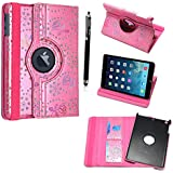 FOR APPLE IPAD MINI STYLISH PINK CRYSTAL DIAMOND BLING LEATHER FLIP CASE COVER POUCH