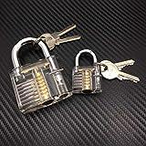2 x Lock Picking Übungsschloss incl. Schlüsseln. Bügelschloss Plexiglas Schlösser knacken - Hobby - Übungsschloss Manipulationszylinder- Kreditkartendietriche, Dietrichset Geocaching