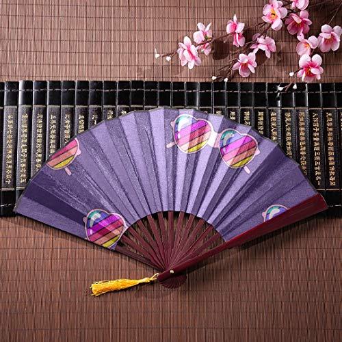 EIJODNL Kinder Hand Fan Tiere süße Sonnenbrille Gesicht mit Bambus Rahmen Quaste Anhänger und Stoffbeutel chinesische Wand Fan japanische Bambus Fan Hand Fans japanischer Bambus
