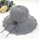 HSRG Hats Cappello Di Cotone Cappello Di Cotone Donna Primavera Ed Estate Berretto Da Spiaggia Visiera Pieghevole Cappello Da Maglia Casual,Gray
