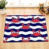 LB Blaue und weiße Streifen,rote Krabbe/Badteppiche,Rutschfest saugfähig Badematten Weich Dusche Teppich (60 * 40 cm)