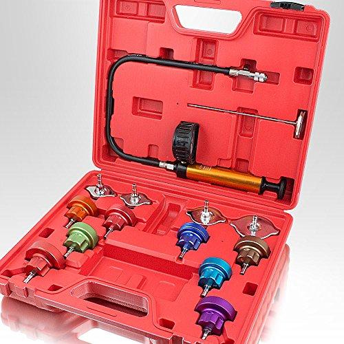 BITUXX® KFZ Kühlsystem Abdrückgerät Druckprüfung Abdrücken Tester Kühler Werkzeug 14 teilig Messbereich 0-2,5 bar, Für alle gängigen PKW geeignet! (Mitsubishi Kühlsystem)