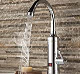 Faucet Kevin 3000W Tankless Warmwasserbereiter LCD Temperaturanzeige Hahn Instantaneous Wasserhahn Küche Instant Warmwasserbereiter Kran Stecker, Silver