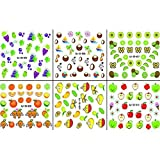 AMA(TM) 6 Sheets Fruits Series 3D Nail Art Stickers Water Transfer Decals Stamping for Nail Tips Decorations (A)