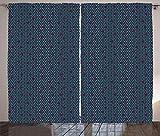 ABAKUHAUS Geometrisch Rustikaler Gardine, Grid Design-schräge Linien, Schlafzimmer Kräuselband Vorhang mit Schlaufen und Haken, 280 x 260 cm, Dunkelrosa Blassgrün und Dunkelblau