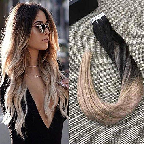 "Full Shine 18"" Glatt 100% Brasilianisches Menschliches Haar Tape on Echthaar Tressen 2.5g/pcs Human Hair Extensions 50g Off Black and Ash Blonde # 1B/18"