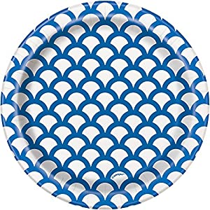 Unique Party- Paquete de 8 platos de papel con diseño de concha, Color azul rey, 18 cm (37194)