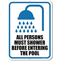 Honey Dew Gifts Pool Rules Sign, All Persons Must Shower Before Entering The Pool 9 inch by 12 inch Metal Pool Signs and Decor Outdoor, Made in USA