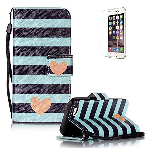 Für iPhone 5C Gurt Strap Magnetverschluß Ledertasche Hülle,Für iPhone 5C Premium Seil Leder Wallet Tasche Brieftasche Schutzhülle,Funyye Stilvoll Jahrgang [Bunt Muster] Schutzhülle Wallet Case Design  Streifen Liebes-Herz