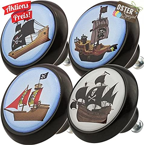 Furniture Knobs Assorted Set 0013S Pirate Ship 4 pcs Ceramic Vintage Style Ceramic Cupboard Decor Door Knobs Kitchen Cabinet Drawer Pulls Handles for Kids