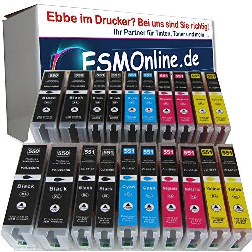 20 komp. XL Druckerpatronen Multipack für Canon Pixma MX725 MX925 ip7250 IP8750 MG5400 MG5450 MG5450s MG5550 MG5650 MG6300 MG6350 MG6450 MG6650 MG7150 MG7550 sie bekommen 4 x schwarz XL 4 x photoschwarz XL 4 x blau XL 4 x rot XL M 4 x gelb XL Kompatibel XL Version