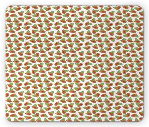 Drempad Gaming Mauspads Custom, Papaya Mouse Pad, Tropical Exotic Fruit Pattern Detailed Illustration of Healthy Food, Standard Size Rectangle Non-Slip Rubber Mousepad, Burnt Orange and Green (Papaya-gelee)