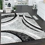 Paco Home Tappeto di Design con Bordo Definito A Righe in Grigio Nero Crema Screziato, Dimensione:80x150 cm