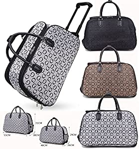 Unisex Travel Holdall G Designer Style Print Holiday Bag Handle Wheeled Suitcase