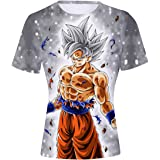 FLYCHEN Uomo T-Shirt Dragon Ball 3D Stampato Disegni di Cosplay Wu Super Saiyan Maglietta Goku