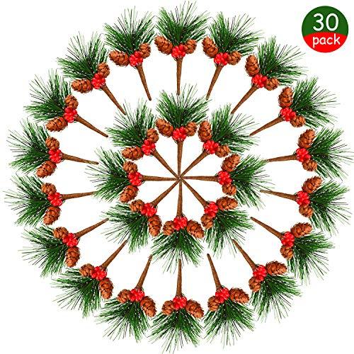 30 pezzi plettri di pino artificiale piccoli alberi di natale con bacche finte per decorazioni di giardino nozze corone composizioni floreali di albero natale