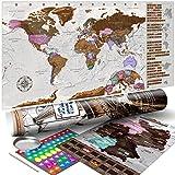 murando - Rubbelweltkarte englisch XXL - 100x50 cm - Set mit Deutschlandkarte - Weltkarte zum Rubbeln mit Länder-Flaggen - Laminiert - Design Geschenk-Tube - Viele Extras - Rubbel Landkarte Poster zum freirubbeln - Geschenk Idee - World Map - k-A-0365-o-a