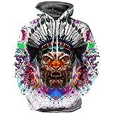 Sweatshirt Herren,SANFASHION Männer Herbst Winter 3D Print Kapuzenpullover Langarm Kapuzen Streetwear Top Bluse