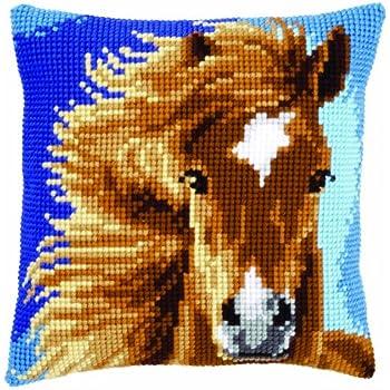 Horse famille Cheval 14 Comptage 61/×44 cm Blanc Toile YEESAM ART Nouveau Point de Croix Kits de Broderie au Avanc/ée Travaux daiguille No/ël Cadeaux