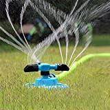 KING DO WAY 360° Fully Circle Rotating Water Sprinkler Garden Pipe Hose Irrigation 3 Nozzles Blue