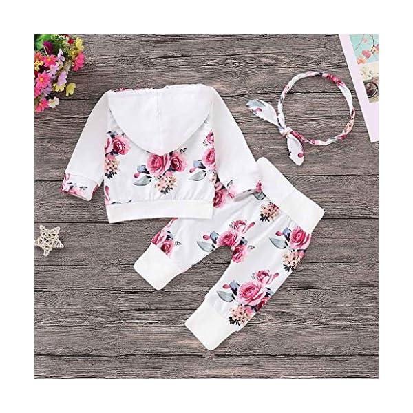 Ropa NiñOs NiñA Bebé Manga Larga Estampado Floral Camiseta Tops CháNdal Sudaderas con Capucha + Pantalones Trajes… 3