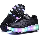 Axcer LED Luci Brillantini Scarpe Sportive con Rotelle Retrattile Singolo Ruote Skateboard Sneakers Outdoor Multisport Lumino