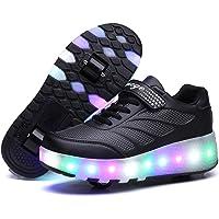 Axcer LED Chaussures de Skateboard avec roulettes 7 Couleurs Clignotante Chaussure de Sport à Rouleau Multisports…